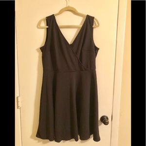 Black Wrap Front skater dress